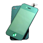 iPhone 4 Complete LCD with Battery Cover set in Metallic Green - Conversion kit