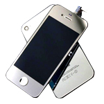 iPhone 4S Complete LCD with Battery Cover Metallic Silver