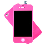 iPhone 4S Complete LCD with Battery Cover set in Neon pink - Conversion kit