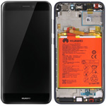 Genuine Huawei P8 Lite 2017 Complete lcd with touchpad and frame incl Battery, Speaker, Side buttons in Black - Part no: 02351CTJ