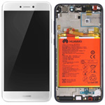 Genuine Huawei P8 Lite 2017 Complete lcd with touchpad and frame incl Battery, Speaker, Side buttons in White - Part no: 02351DNG