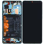 Genuine Huawei P30 Pro Complete lcd with frame, Battery, Receiver, Vibrator, mic in Aurora Blue- Part no: 02352PGE
