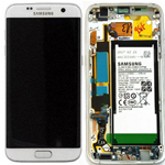 Genuine Samsung S7 Edge (G935F) Complete lcd and touchpad with frame and Battery in White - Part no: GH82-13364A