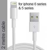 Lightning Pin Cable in White for iPhone 6 plus, 6S, 6, 5 Series - 2 Metres Cable (Compatible)