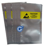 100Pcs Silver Caution bags with transparent front 8 x 13.5cm