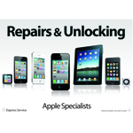 A3 Apple Repairs & Unlocking Designer Poster (Apple Specialists) for Shop Window/Display