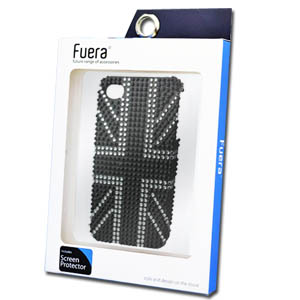 iPhone 4S Union Jack Diamond Case in Black Including Fuera Screen Protector
