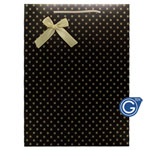 Gold Polka Dots on Black Premium Gift Bag - Large Size 26cm x 33cm- Pack of 25pcs (0.40p each)