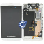 Genuine Z10 Complete lcd and digitzer with frame, chassis and parts in White - 001 4G version