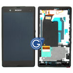 Sony L36h Xperia Z Complete LCD with digitizer and centre board in black
