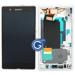Sony L36h Xperia Z Complete LCD with digitizer and centre board in white