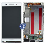 Huawei Ascend P6 complete lcd with digitizer and frame in White inc (inc.speaker ,loudspeaker ,antenna , charging flex)