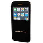 iPhone 6S / 6 Slider to answer leather case + metal holder Black