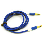3.5mm Two Tone Head Round Stereo Audio Auxiliary AUX Cable for iPhone 4 MP3 in Dark Blue