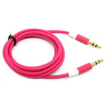 3.5mm Two Tone Head Round Stereo Audio Auxiliary AUX Cable for iPhone 4 MP3 in Hot Pink