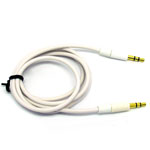 3.5mm Two Tone Head Round Stereo Audio Auxiliary AUX Cable for iPhone 4 MP3 in White