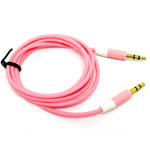 3.5mm Two Tone Head Round Stereo Audio Auxiliary AUX Cable for iPhone 4 MP3 in Pink