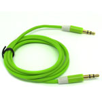 3.5mm Two Tone Head Round Stereo Audio Auxiliary AUX Cable for iPhone 4 MP3 in Green