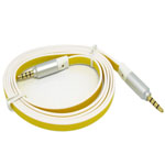 3.5mm Two Tone White and Yellow Flat Stereo Audio Auxiliary AUX Cable ,Silver Heads for iPhone 4 ,MP3