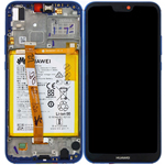 Genuine Huawei P20 Lite (ANE-L21) Complete lcd with frame and battery, speaker in blue - Part no: 02351XUA, 02351VUV
