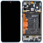 Genuine Huawei P30 Lite New Edition 2020 (MAR-L21BX) Display module front cover, LCD, digitizer and battery in Peacock Blue - Part no: 02352PJP