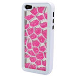 Luxury iPhone 5 Pentagon Bling Case with Hot Pink Crystals in white
