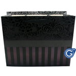 Black Damask Premium Gift Bag with Red Stripe Design - Medium Sized 23cm x 18cm - Pack of 24pcs (0.35p each) - Fits 2 mobile phone boxes, leather case and a charger
