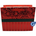 Red Damask Premium Gift Bag with Red Stripe Design - Medium Sized 23cm x 18cm - Pack of 24pcs (0.35p each) - Fits 2 mobile phone boxes, leather case and a charger