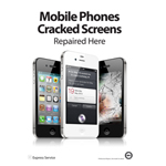A2 Mobile Phone Cracked Screens repaired Here Poster in White (Seperately Sent and Shipped to UK Only)