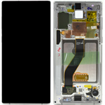Genuine Samsung Galaxy Note 10 (N970F) Complete lcd with touchpad and frame in white - Part no : GH82-20818B