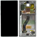 Genuine Samsung Galaxy Note 10 (N970F) Complete lcd with touchpad and frame in Aura Glow / Silver - Part no: GH82-20817C