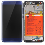 Genuine Huawei P8 Lite 2017 Complete lcd with touchpad and frame incl Battery, Speaker, Side buttons in Blue - Part no: 02351EUV