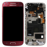 Genuine Samsung i9195 Galaxy S4 Mini Complete Lcd and Digitizer with frame in La Fluer Red - Part number: GH97-15541A