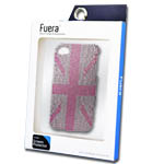iPhone 4S Union Jack Diamond Case in Pink Including Fuera Screen Protector