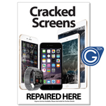 New A2 Medium iPhone and iPad Cracked Screens Repaired Here Poster