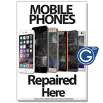 New A1 Large 841 x 594 mm Mobile Phones Repaired Here Poster