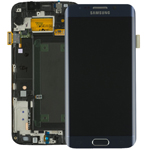 Genuine Samsung S6 Edge SM-G925F Lcd and Touchpad with Frame Assembly in Black - Part number : GH97-17162A
