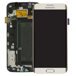 Genuine Samsung S6 Edge SM-G925 Lcd and touchpad with lcd frame in Gold -Part no : GH97-17162C