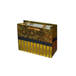 Special Christmas Offer- Decorated Shiny Bags with Flowers and Stripes in Gold- Size Small-14x11 cm (Pack of 12 Bags)