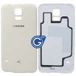Samsung Galaxy S5 LTE-A G901F,S5 G900F Battey Cover in White (with 4G Logo)
