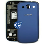 Samsung i9300 back cover with Chrome Frame Metallic Blue Grade A