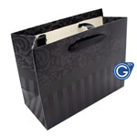 Black Damask Premium Gift Bag with Red Stripes - Size Small 14cm x 12cm  - 24pcs in 1 pack - (0.25p each)