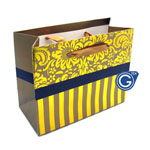 Gold Damask Premium Gift Bag with Red Stripes - Size Small 14cm x 12cm  - 24pcs in 1 pack - (0.25p each)