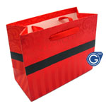 Red Damask Premium Gift Bag with Red Stripes - Size Small 14cm x 12cm  - 24pcs in 1 pack - (0.25p each)
