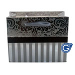 Silver Damask Premium Gift Bag with Red Stripes - Size Small 14cm x 12cm  - 24pcs in 1 pack - (0.25p each)
