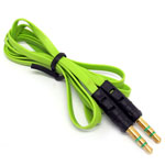 3.5mm Stereo Audio Auxiliary AUX Cable for iPhone 4 MP3 Flat Green