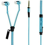 Zipper Earphones in Blue
