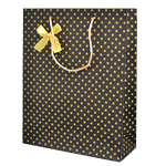 Special Christmas Offer- Decorated Gift Bags with Dots and Ribbon in Brown (32x26 cm) (Set of 12 Bags)