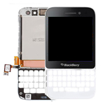 Blackberry Q5 Lcd and Digitizer complete with keypad bezel, frame and speaker in white
