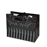 Special Christmas Offer- Decorated Shiny Bags with Flowers and Stripes in Black- Size Small- 14x11 cm cm (Pack of 12 Bags)